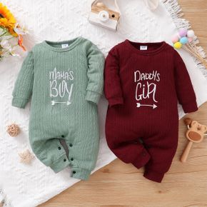 Baby Boy/Girl Letter Embroidered Solid Cable Knit Jumpsuit
