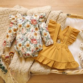 Baby 2pcs Floral Print Long-sleeve Romper and Yellow Corduroy Ruffle Suspender Skirt Set