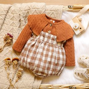 100% Cotton Knitted Long-sleeve Splicing Plaid Print Baby Romper