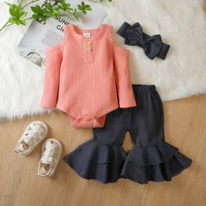 3pcs Baby Off Shoulder Long-sleeve Ribbed Romper and Bell Bottom Jeans Set