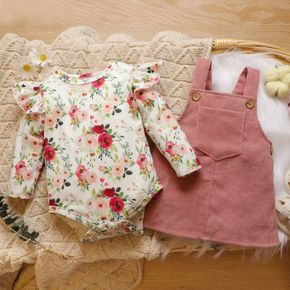 2pcs Baby Floral Print Ruffle Long-sleeve Romper and Corduroy Overall Dress Set