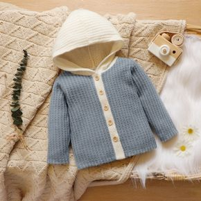 Baby Color Block Long-sleeve Hooded Waffle Outwear