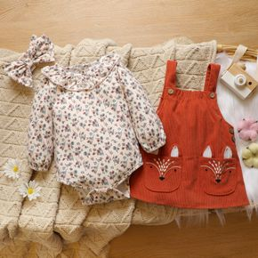 3pcs Baby Floral Print Long-sleeve Ruffle Romper and Fox Embroidered Corduroy Overall Dress Set