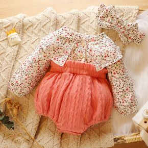 2pcs Baby Floral Print Long-sleeve Splicing Cable Knit Romper Set