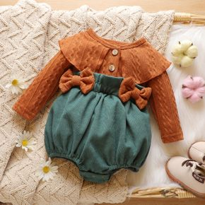 Cable Knit Long-sleeve Splicing Corduroy Bowknot Baby Romper