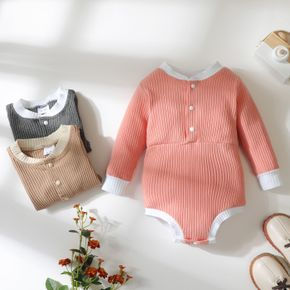 Baby Solid Ribbed Snap-up Long-sleeve Romper