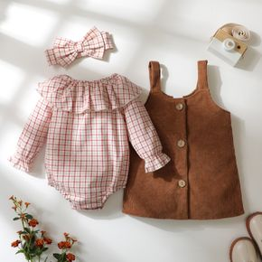 3-piece Baby Girl Flounce Plaid Long-sleeve Romper, Button Design Ribbed Corduroy Overall Dress and Headband Set