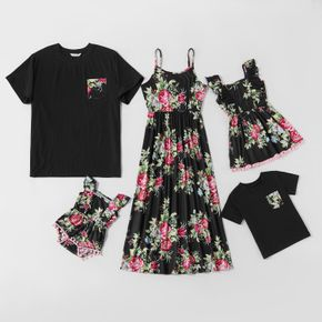 Tenues Assorties Costume Vacances Manche Courte Col Rond Type normal Floral
