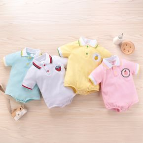 Baby Polo Collar Fruit Embroidery Romper