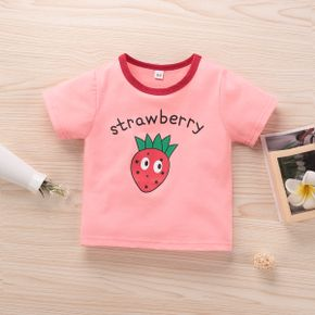 Fruit Strawberry Letter Print Pink Short-sleeve Baby Cotton T-shirt
