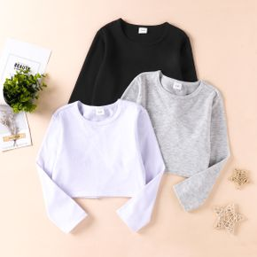 Baby/Toddler Casual Solid Short Long-sleeve Tee