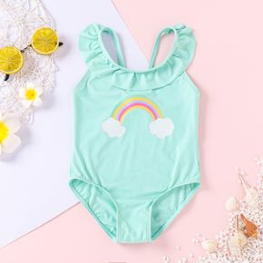 Rainbow Clouds Off Shoulder Sleeveless Baby Swimsuit