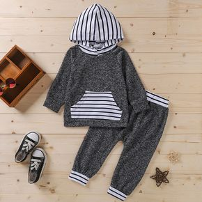 2-piece Toddler Girl/Boy Striped Hoodie with Pocket and Elasticized Pants Casual Set