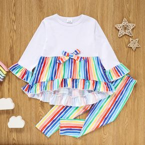 2-piece Toddler Girl Striped Rainbow Print High Low Bell sleeves Top and Pants Set