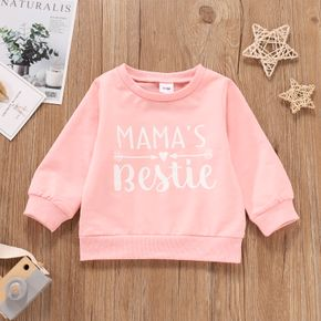 Letter Print Long-sleeve Pink Baby Pullover Top