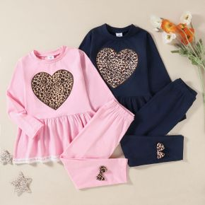 Kids Girl Love Leopard Tee and Bowknot Pants Set