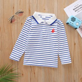 Toddler Boy Animal Embroidery Striped Long-sleeve Polo Shirt