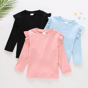 Toddler Girl Ruffled Casual Solid Ribbed Long-sleeve Top