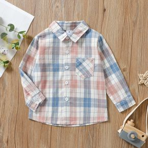 Toddler Boy 100% Cotton Lapel Collar Button Down Long-sleeve Plaid Shirt with Pocket