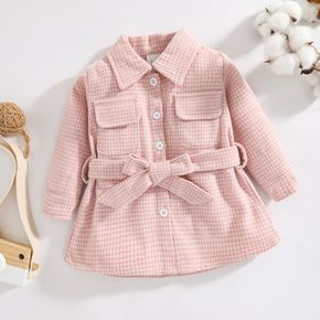 Pink Plaid Lapel Button Down Belted Long-sleeve Baby Wool Blend Coat