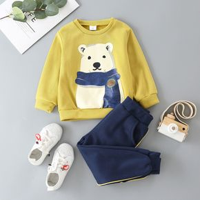 2-piece Toddler Boy Bear Print Pullover and Striped Pants Set