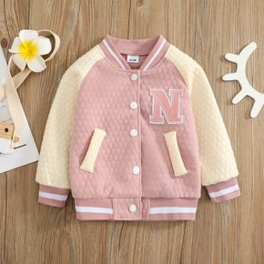 Toddler Girl 100% Cotton Letter Embroidered Textured Striped Button Design Bomber Jacket