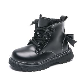 Toddler / Kid Perforated Lace-up Side Zipper Bowknot Back Black Boots