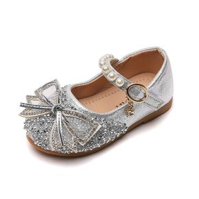 Toddler / Kid Faux Pearls Sequined Bowknot Decor Velcro Shoes