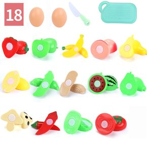 18PCS Safety Plastic Kids Pretend Role Play Kitchen Fruit Vegetable Food Toy Cutting Set Gift Kids Toys For Children Fun Play