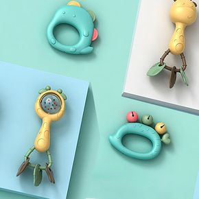 4pcs Baby Rattle Toys Sets Teether Rattles Toys Spin Rattle Toy Early Educational Toys Gifts Set (Random Color)