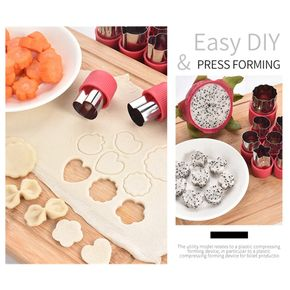 12 Pcs Vegetable Cutter Shapes Set,Mini Pie,Fruit and Cookie Stamps Mold