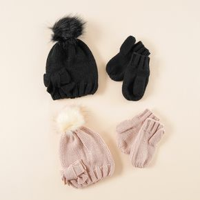 2-pack Solid Color Pompon Decor Knitted Hat and Glove Set