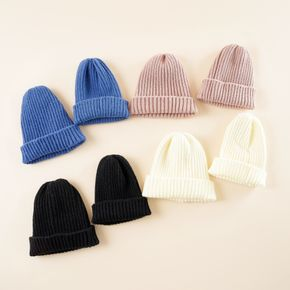Solid Color Ribbed Knit Beanie Hats for Mom and Me