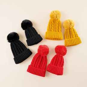 Solid Color Pompon Decor Cable Knit Beanie Hats for Mom and Me