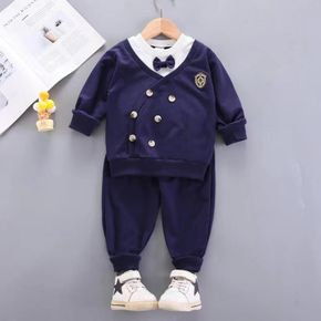 2pcs Baby Preppy Style Long-sleeve Faux-two Sweatshirt and Trousers Gentleman Set