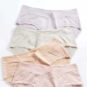 Maternity Casual Solid Color Lace Trim Underwear