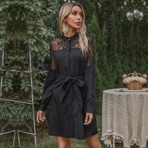 Black Lace Splice Front Belted Button Long-sleeve Dress