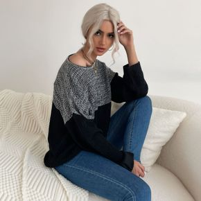 Two Tone Round Neck Long-sleeve Sweater