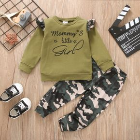2-piece Toddler Girl Letter Camouflage Print Ruffled Sweatshirt and Pants Set