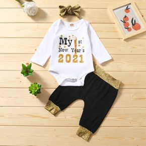 3pcs Baby Unisex casual Letter Baby's Sets Romper Cotton Fashion Long Sleeve Infant Clothing Outfits