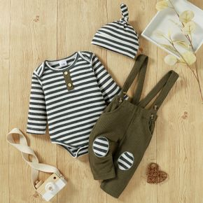 Baby 3pcs Ribbed Stripe Print Long-sleeve Romper and Waffle Overalls Set