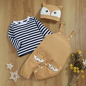 3pcs Baby Cartoon Fox Embroidered Overalls and Striped Long-sleeve T-shirt Set