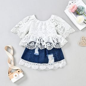 2pcs Baby Hollow Out Floral Lace Long-sleeve Top and Ripped Denim Skirt Set