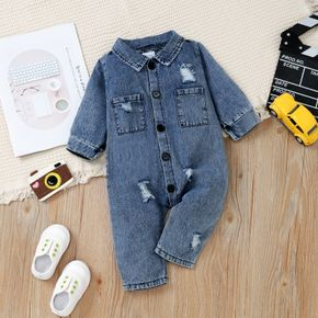 Blue Distressed Ripped Denim Lapel Button Down Baby Long-sleeve Jumpsuit