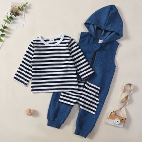 2pcs Baby Striped Long-sleeve T-shirt and Sleeveless Hooded Jumpsuit Set