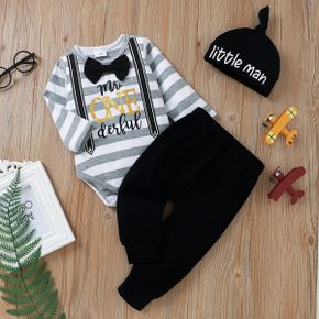 Christmas 3pcs Baby Letter Print Striped Long-sleeve  Bow Tie Romper and Trousers Set