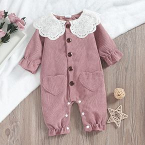 Doll Collar Pink Corduroy Long-sleeve Baby Jumpsuit