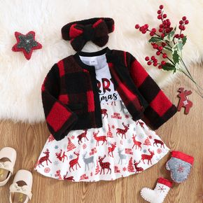Christmas 3pcs Baby Letter and Reindeer Print Long-sleeve Dress and Fleece Plaid Outwear Set