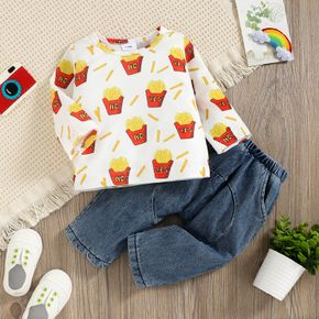 2pcs Baby All Over French Fries Print Long-sleeve Top and 100% Cotton Denim Jeans Set