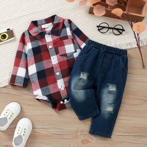 2pcs Baby Lapel Long-sleeve Shirt Romper and 100% Cotton Ripped Jeans Set